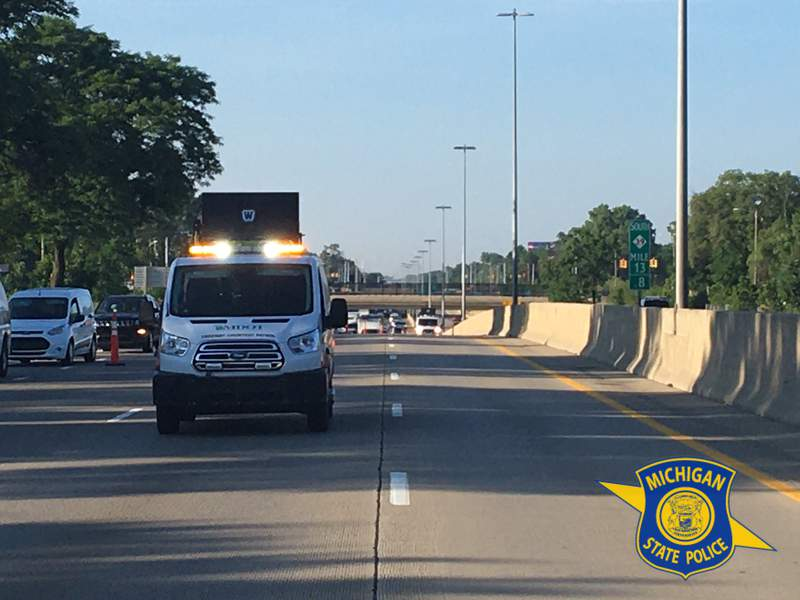 Michigan State Police investigate a possible shooting July 2, 2020 on the Southfield Freeway (M-39) in Detroit.