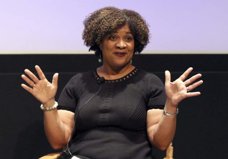 """FILE - In this Dec. 8, 2017, file photo, Fatima Goss Graves speaks at a discussion about sexual harassment and how to create lasting change from the scandal roiling Hollywood at United Talent Agency in Beverly Hills, Calif. Three years into the #MeToo movement, there may be more awareness around workplace sexual harassment. But a new report finds that almost three-quarters of people reporting such harassment suffer from retaliation if they complain. The study was conducted by the National Womens Law Center, which houses and administers the Times Up Legal Defense Fund. Graves, president and CEO of the law center and co-founder of the fund, said the scenarios outlined in the report should sound """"an alarm to legislators and policymakers: Until harassers are held accountable, workplaces will remain unsafe for everyone. (Photo by Willy Sanjuan/Invision/AP)"""