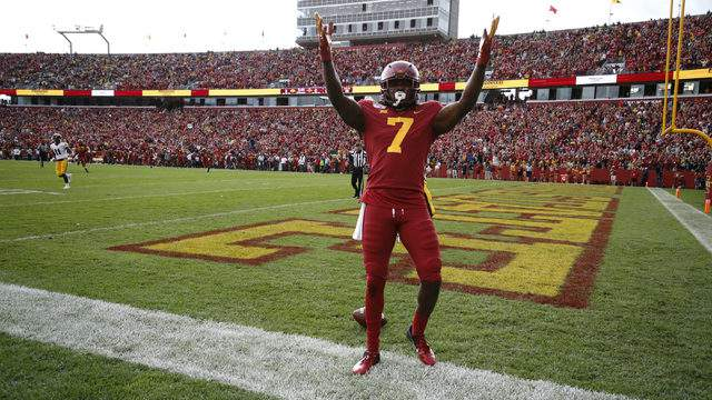 Wide receiver La'Michael Pettway #7 of the Iowa State Cyclones celebrates after scoring a touchdown in the first half of play against the Iowa Hawkeyes at Jack Trice Stadium on September 14, 2019 in Ames, Iowa. (Photo by David Purdy/Getty Images)