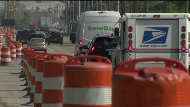 Road construction barrels in Metro Detroit (WDIV)