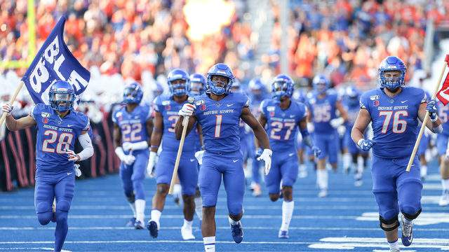 Wide receiver Octavius Evans #1 of the Boise State Broncos leads the team on to the field prior to the first half against the Marshall Thundering Herd on September 6, 2019 at Albertsons Stadium in Boise, Idaho. (Photo by Loren Orr/Getty Images)
