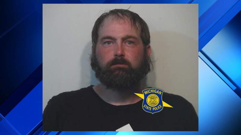 Brandon Sobeck, 35, of Alpena was charged with felonious assault and domestic violence nearly five months after allegedly assaulting a woman in Alpena County. Photo provided by the Michigan State Police.