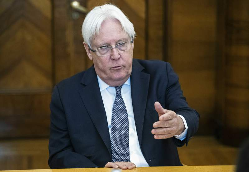 FILE - In this July 1, 2019 file photo, United Nations Special Envoy to Yemen Martin Griffiths speaks during his meeting with Russian Foreign Minister Sergey Lavrov in Moscow, Russia. Iranian state TV said Sunday, Feb. 7,2021, that Griffiths arrived on his first visit to Iran for talks on the grinding war in the Arab worlds poorest country. The trip is part of a broad effort to negotiate a political solution to the nearly six-year conflict (AP Photo/Pavel Golovkin, File)