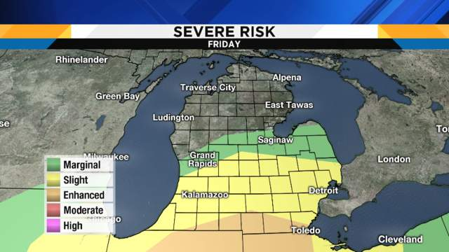 Severe weather risk levels as shown on map from 2017 storm.
