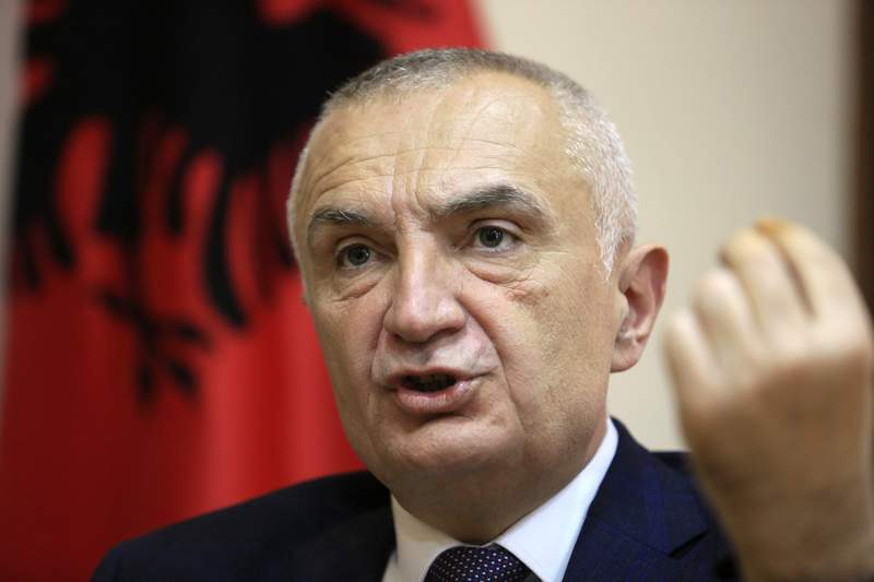 FILE - In this file photo dated Wednesday, April 21, 2021, Albanian President Ilir Meta speaks during an interview with the Associated Press in Tirana, Albania.  Albania's parliament said Monday May 31, 2021, they will hold an extraordinary session on June 9 to debate and vote on the possible impeachment of the countrys president Meta for allegedly violating the constitution. (AP Photo/Hektor Pustina, FILE)