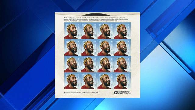 A sheet of Marvin Gaye stamps.