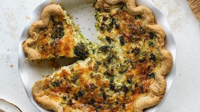 Classic broccoli cheese quiche from How Sweet Eats.