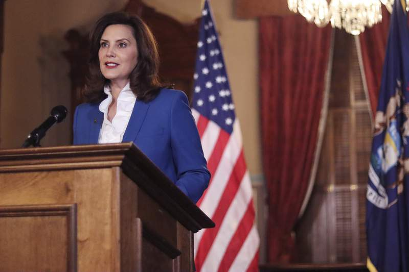 FILE - In this  Jan. 27, 2021, file photo provided by the Michigan Office of the Governor, Gov. Gretchen Whitmer delivers her virtual State of the State address the state in Lansing, Mich. Irked by the sweeping use of executive orders during the COVID-19 crisis, state lawmakers around the U.S. are moving to curb the authority of governors and top health officials to impose emergency restrictions such as mask rules and business shutdowns. (Michigan Office of the Governor via AP)