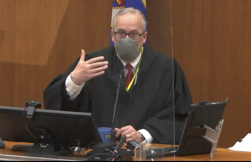 In this screen grab from video, Hennepin County Judge PeterCahill presides over pretrial motions prior to continuing jury selection in the trial of former Minneapolis police officer Derek Chauvin, Wednesday, March 10, 2021, at the Hennepin County Courthouse in Minneapolis.  Chauvin is charged in the May 25, 2020 death of George Floyd.   (Court TV, via AP, Pool) (Court TV, via AP, Pool)