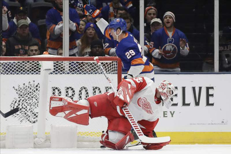 New York Islanders' Brock Nelson (29) celebrates as Detroit Red Wings goaltender Jimmy Howard (35) reacts after Nelson scored a goal during the first period of an NHL hockey game Tuesday, Jan. 14, 2020, in Uniondale, N.Y.
