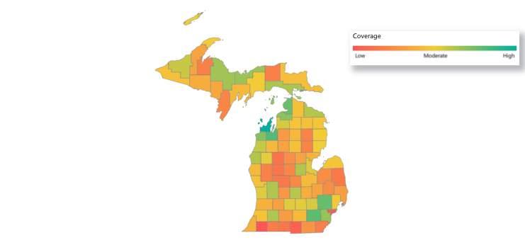 Michigan COVID-19 vaccine coverage as of June 7, 2021.