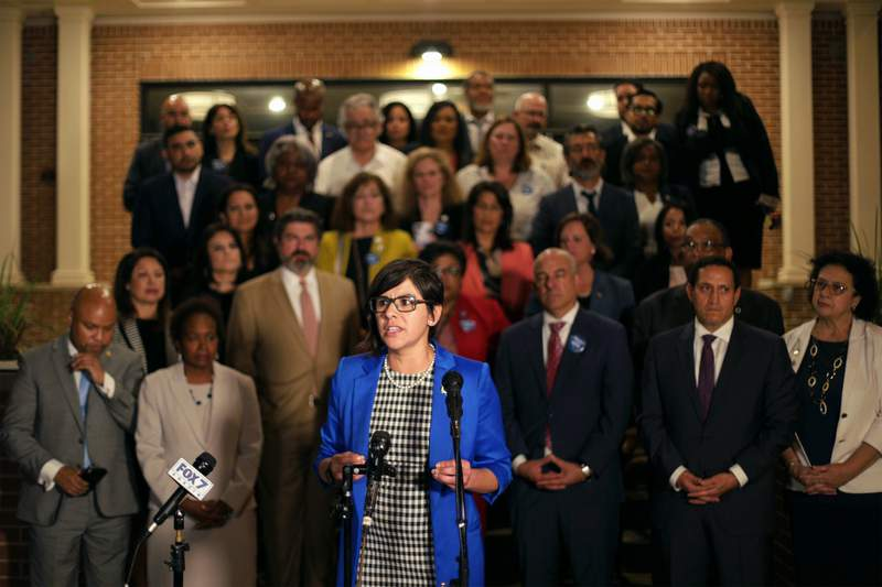 State Rep. Jessica Gonzlez, D-Dallas, speaks at a press conference at Mt. Zion Baptist Church near the state Capitol in Austin after Democrats broke quorum in opposition to Senate Bill 7, a sweeping GOP voting bill. May 30, 2021.