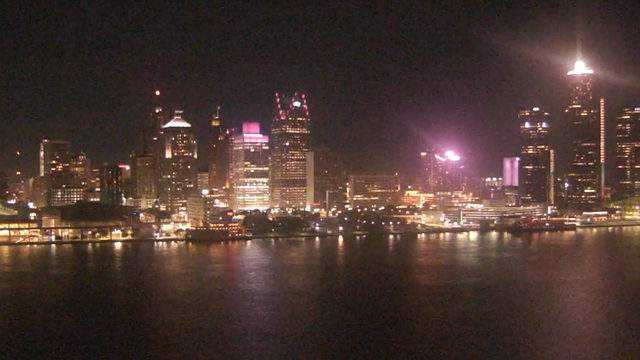 View of Detroit from the Windsor sky camera on Oct. 7, 2019 at 8:45 p.m. (WDIV)
