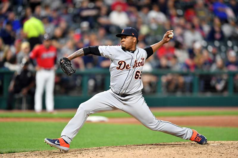Gregory Soto #65 of the Detroit Tigers pitches during the seventh inning against the Cleveland Indians at Progressive Field on September 17, 2019 in Cleveland, Ohio.