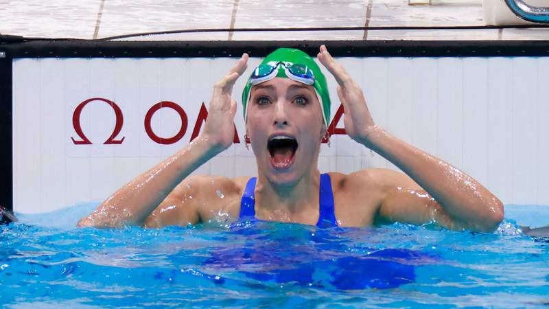South Africa's Tatjana Schoenmaker reacts after winning the final of the women's 200m breaststroke to set a new world record during the Tokyo Olympic Games.