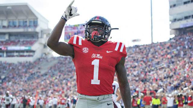 A.J. Brown #1 of the Mississippi Rebels points to the sky after scoring a touchdown against the Southern Illinois Salukis during the first half at Vaught-Hemingway Stadium on September 8, 2018 in Oxford, Mississippi. (Photo by Wesley Hitt/Getty Images)