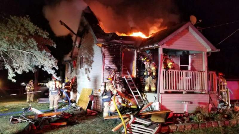 A photo of a Rochester Hills home on fire on Jan. 23, 2021.