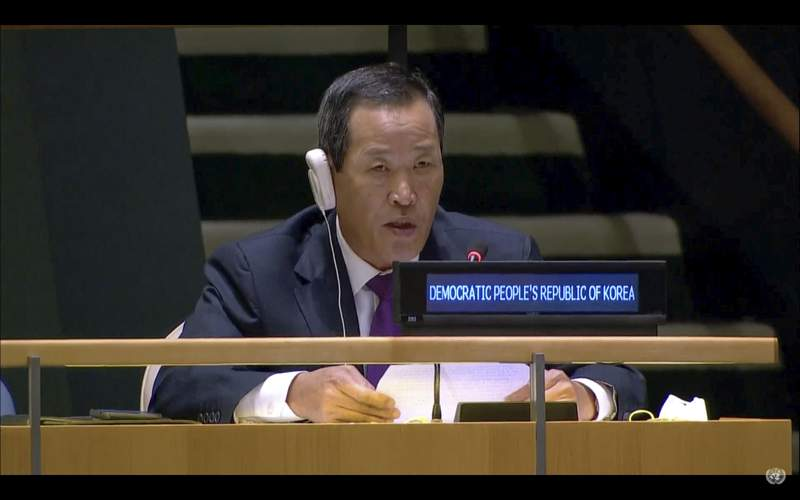 In this UNTV image, Kim Song, Permanent Representative of the Democratic People's Republic of Korea (DPRK) to the United Nations, speaks in person during the 75th session of the United Nations General Assembly, Tuesday, Sept. 29, 2020, at U.N. headquarters. (UNTV via AP)