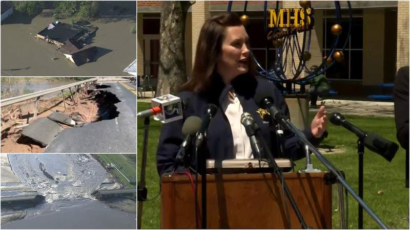 Michigan Gov. Gretchen Whitmer addresses the damaging floods in Midland County on May 20, 2020.