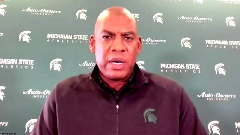 Michigan State football coach Mel Tucker at his Oct. 27, 2020, press conference.