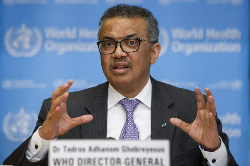 FILE - In this Monday, March 9, 2020 file photo, Tedros Adhanom Ghebreyesus, Director General of the World Health Organization speaks during a news conference on updates regarding on the novel coronavirus COVID-19, at the WHO headquarters in Geneva, Switzerland. After the new coronavirus erupted in China, the World Health Organization sprang into action: It declared an international health emergency, rushed a team to the epicenter in Wuhan and urged other countries to get ready and drum up funding for the response. Many analysts have praised the initial response by the worlds go-to agency on health matters. But now, governments have started to brush aside, ignore and criticize WHO recommendations on issues of public policy, like whether cross-border travel should be restricted or whether the public should wear masks. (Salvatore Di Nolfi/Keystone via AP, file)