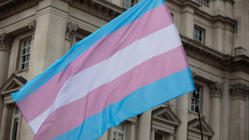 A transgender flag being waved at LGBT gay pride march; Shutterstock ID 1449773756; Job: CNN Photos