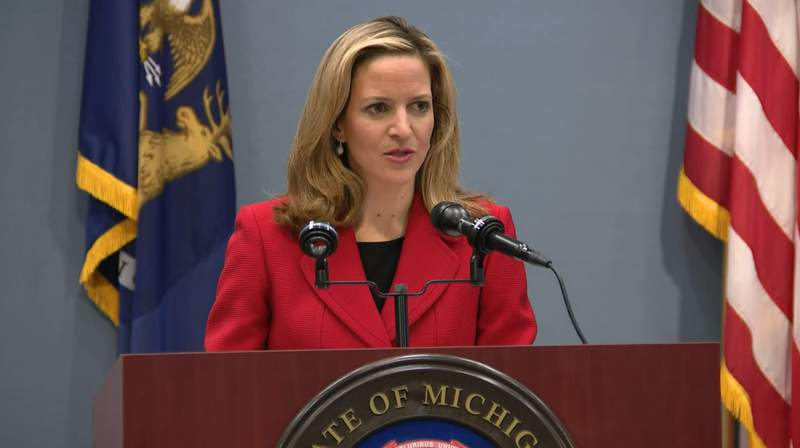 Michigan Secretary of State Jocelyn Benson speaks at a news conference on Dec. 12, 2019.