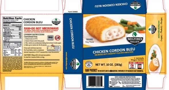 Recalled frozen chicken label, USDA.