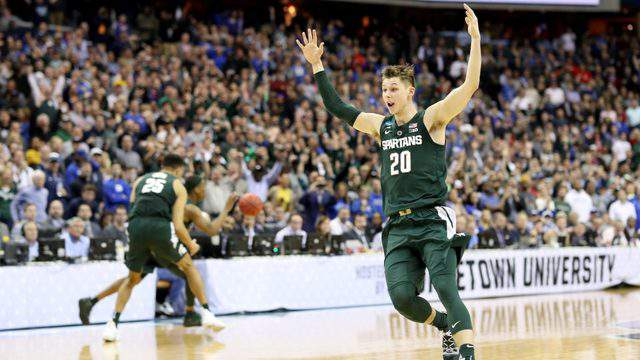 Matt McQuaid of the Michigan State Spartans celebrates after defeating the Duke Blue Devils on March 31, 2019 in Washington, DC.  (Photo by Rob Carr/Getty Images)
