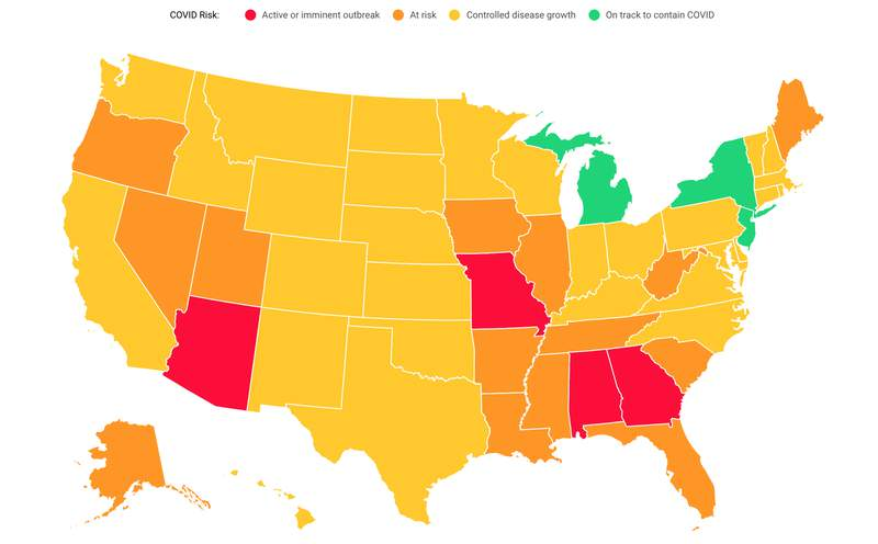 """A screenshot of Covid Act Now's map of the United States and colored according to their """"Covid Risk Level."""" Michigan, New York and New jersey are the only three states who are """"on track to contain Covid,"""" while most of the country is experiencing """"controlled disease growth."""" -- June 18, 2020."""