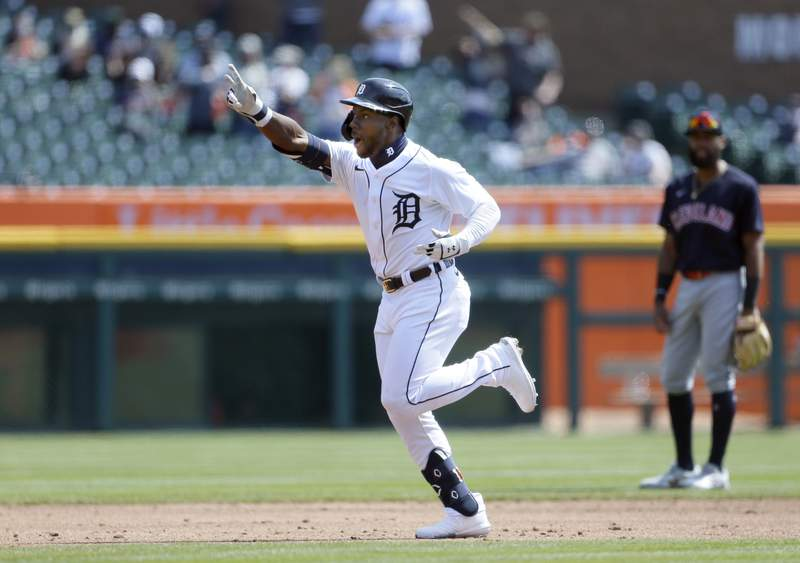 Akil Baddoo #60 of the Detroit Tigers rounds the bases after hitting his first major league home run against the Cleveland Indians at Comerica Park on April 4, 2021, in Detroit, Michigan.