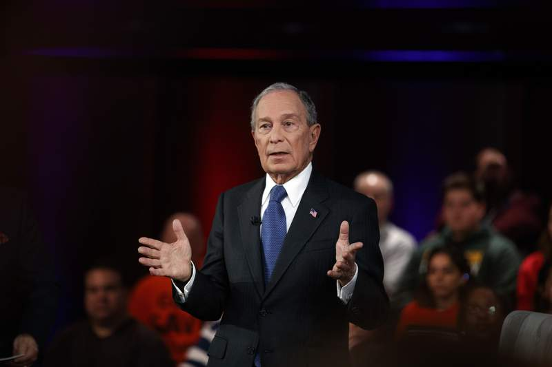 FILE - In this March 2, 2020, file photo Democratic presidential candidate former New York City Mayor Mike Bloomberg speaks during a FOX News Channel Town Hall in Manassas, Va. After pouring more than $1.2 billion of his personal fortune into presidential politics this election, Bloomberg has little to show for it. His only win during a short-lived bid for the White House was in American Samoa. (AP Photo/Carolyn Kaster, File)