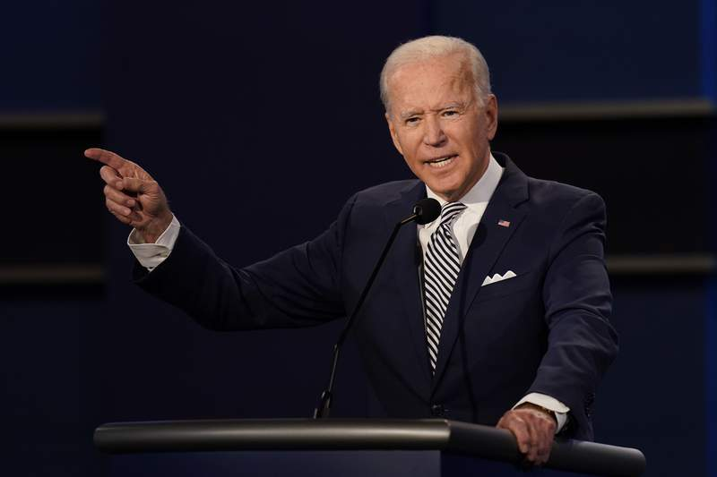 Democratic presidential candidate former Vice President Joe Biden gestures while speaking during the first presidential debate Tuesday, Sept. 29, 2020, at Case Western University and Cleveland Clinic, in Cleveland, Ohio. (AP Photo/Patrick Semansky)