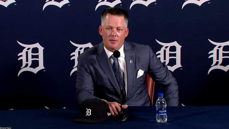 Manager A.J. Hinch at his Detroit Tigers introductory press conference on Oct. 30, 2020.