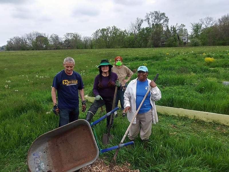Jim Morey, Yvette Gerace, Mary Wright and Edith Floyd of the Friends of Fletcher Field