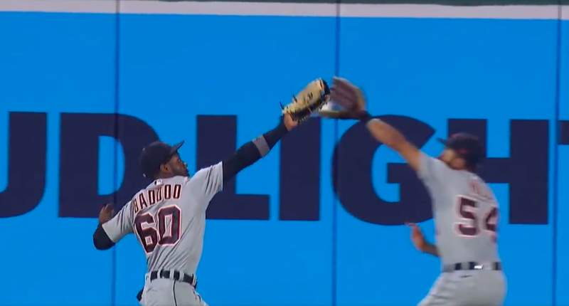 Detroit Tigers outfielders Akil Baddoo and Derek Hill collide in a win over the Baltimore Orioles on Aug. 10, 2021.