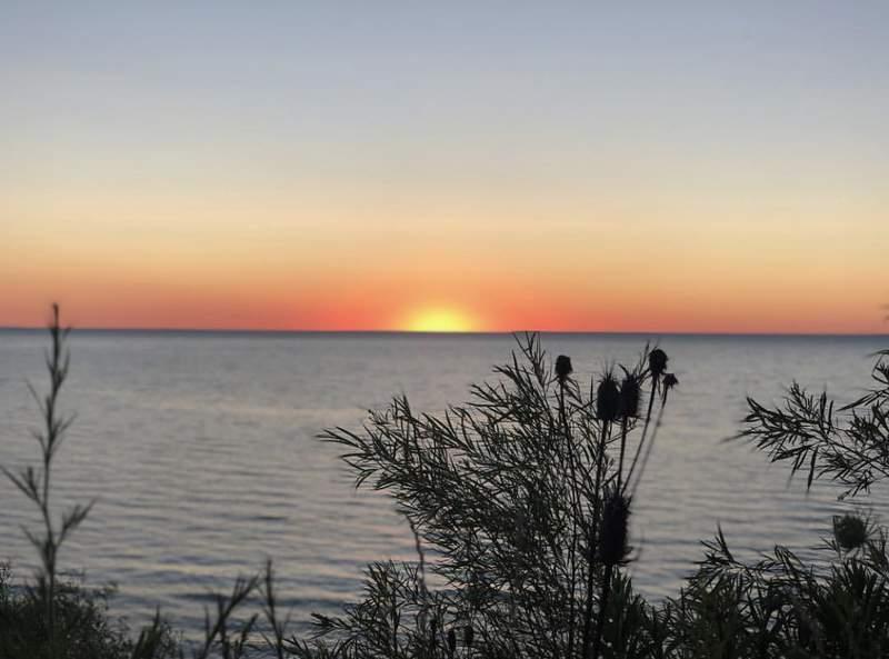 Sunset over Lake Michigan on July 7, 2018.
