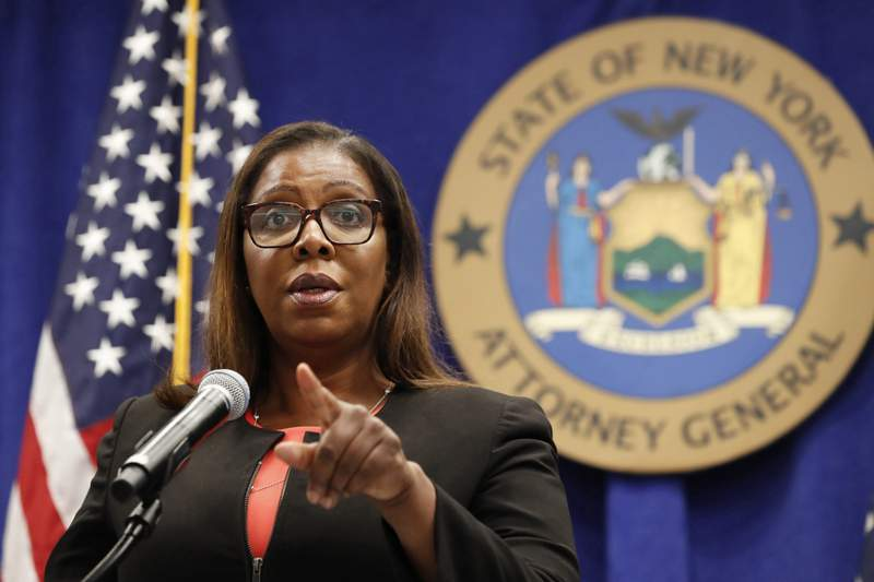 FILE- In this Aug. 6, 2020 file photo, New York State Attorney General Letitia James takes a question at a news conference in New York.  The Office of the New York Attorney General said in a new report, Thursday, May 6, 2021,  that a campaign funded by the broadband industry submitted millions of fake comments supporting the 2017 repeal of net neutrality. The Federal Communications Commissions contentious 2017 repeal undid Obama-era rules that the broadband industry had sued to stop.  (AP Photo/Kathy Willens, File)