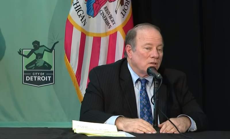 Detroit Mayor Mike Duggan speaks at a coronavirus news conference April 1, 2020.