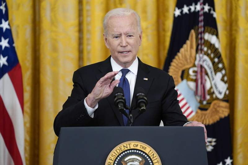 President Joe Biden speaks before signing the COVID-19 Hate Crimes Act, in the East Room of the White House, Thursday, May 20, 2021, in Washington. (AP Photo/Evan Vucci)