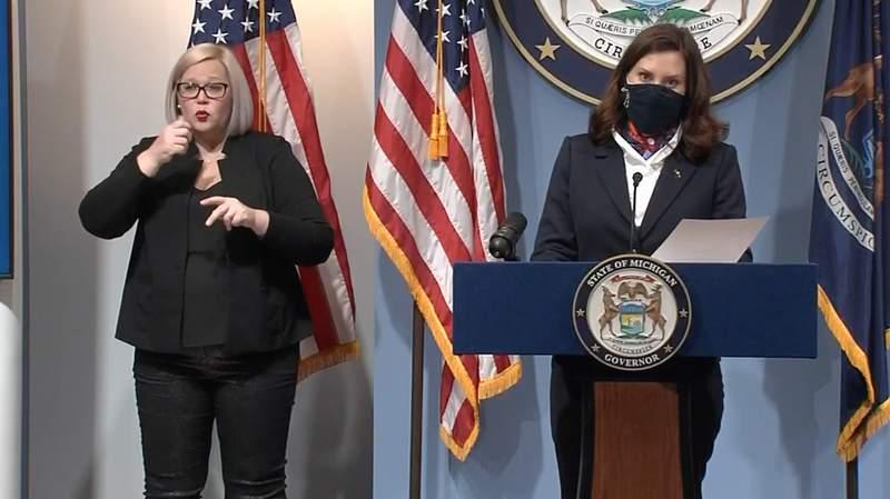 Michigan Gov. Gretchen Whitmer at a Jan. 25, 2021, COVID-19 briefing.