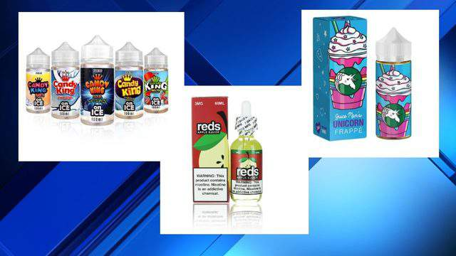 Michigan has become the first state in the country to ban flavored e-cigarettes. Pictured here are examples of the products being banned. (Gov. Whitmer's Office)
