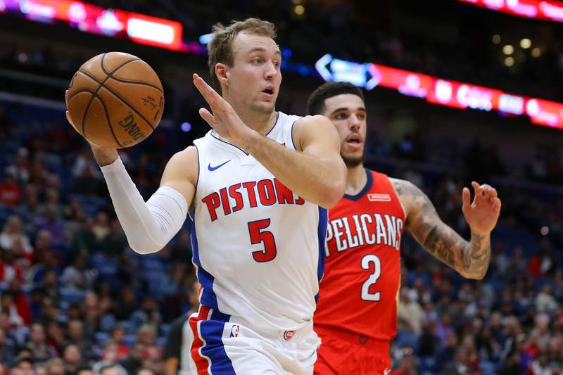 NEW ORLEANS, LOUISIANA - DECEMBER 09: Luke Kennard #5 of the Detroit Pistons drives against Lonzo Ball #2 of the New Orleans Pelicans during the second half at the Smoothie King Center on December 09, 2019 in New Orleans, Louisiana. NOTE TO USER: User expressly acknowledges and agrees that, by downloading and or using this Photograph, user is consenting to the terms and conditions of the Getty Images License Agreement. (Photo by Jonathan Bachman/Getty Images)