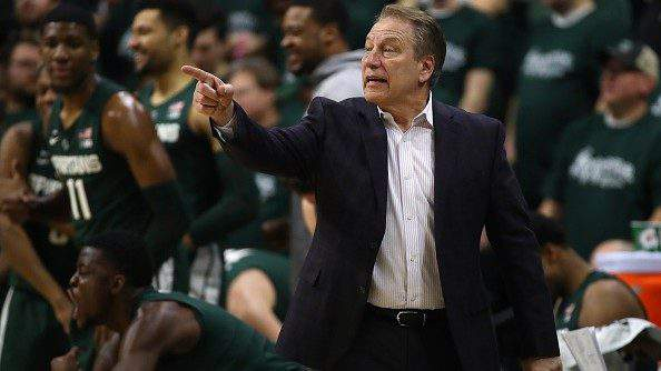 EAST LANSING, MICHIGAN - MARCH 05: Head coach Tim Izzo of the Michigan State Spartans reacts on the bench while playing the Nebraska Cornhuskers at Breslin Center on March 05, 2019 in East Lansing, Michigan. Michigan State won the game 91-76. (Photo by Gregory Shamus/Getty Images)