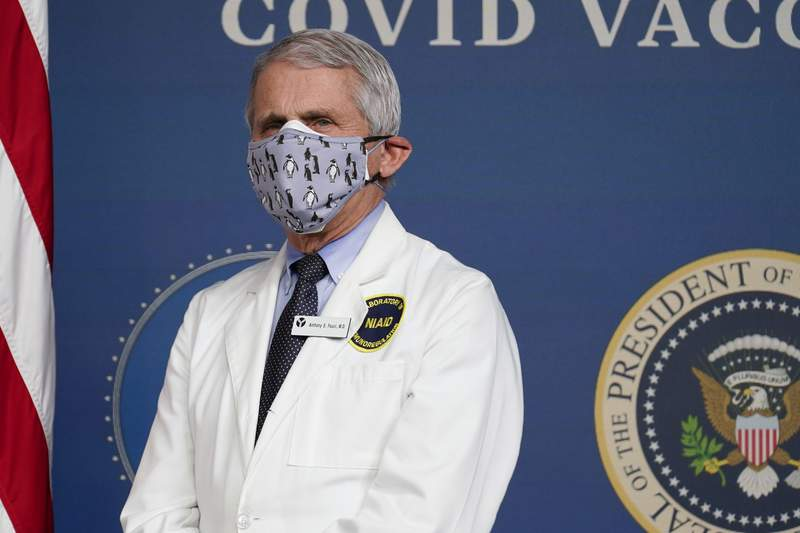FILE - In this Feb. 25, 2021, Dr. Anthony Fauci, director of the National Institute of Allergy and Infectious Diseases, listens as President Joe Biden speaks during an event to commemorate the 50 millionth COVID-19 shot in Washington.  Fauci said Sunday, March 14,  he wishes former President Donald Trump would use his popularity among Republicans to persuade his followers to get the COVID-19 vaccine. In a round of interviews on the morning news shows, Fauci lamented polling showing that Trump supporters are more likely to refuse to get vaccinated, saying politics needs to be separated from commonsense, no-brainer public health measures. (AP Photo/Evan Vucci, File)