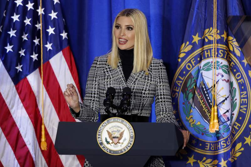 President Donald Trump's senior adviser and daughter, Ivanka Trump, speaks at a Cops for Trump campaign rally, Monday, Feb. 10, 2020, in Portsmouth, N.H. (AP Photo/Robert F. Bukaty)