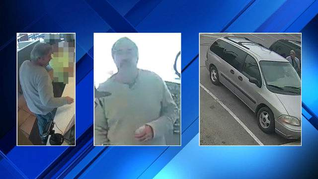 Police are searching for a man accused of taking a purse from a vehicle in Waterford Township on May 17, 2019. (WDIV)