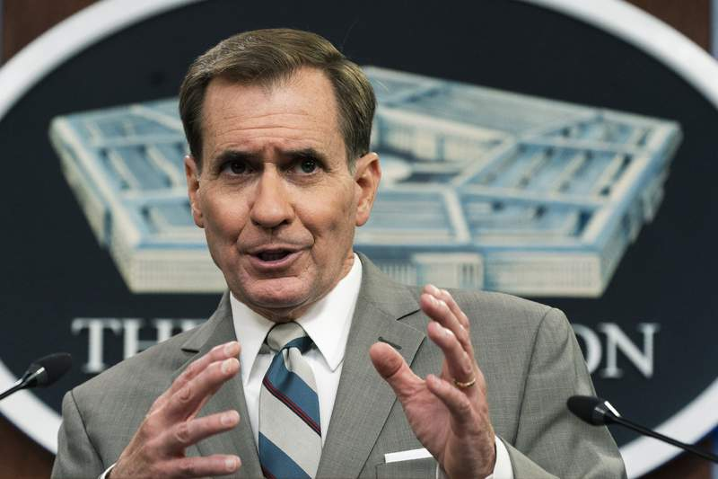 Pentagon spokesman John Kirby speaks about the situation in Afghanistan during a briefing at the Pentagon in Washington, Friday, Aug. 27, 2021. (AP Photo/Manuel Balce Ceneta)