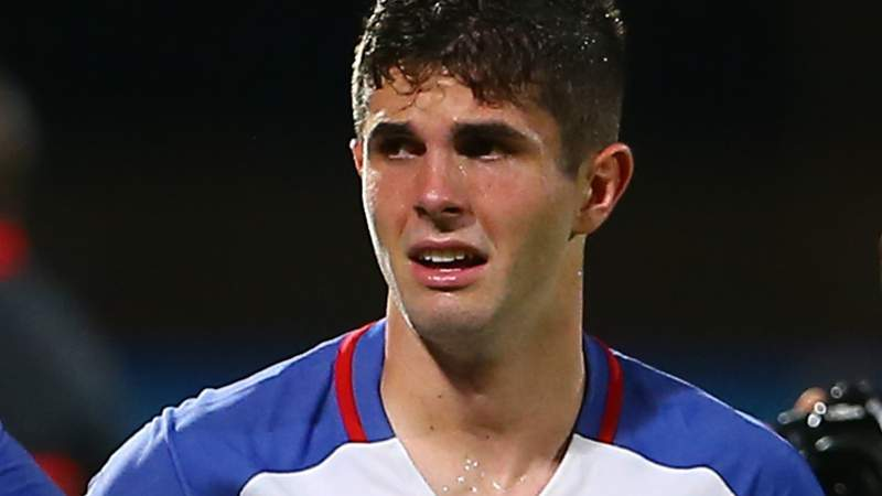Christian Pulisic of the United States mens national team reacts to their loss against Trinidad and Tobago during the FIFA World Cup Qualifier match in 2017. The U.S. failed to qualify for the 2018 World Cup as a result of the loss. (Photo by Ashley Allen)