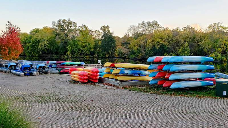 Stored canoes and kayaks at the Gallup Park canoe livery in Ann Arbor, Michigan.